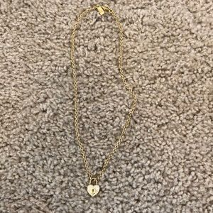 Gold Coach Heart Lock Necklace